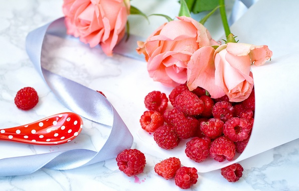 Picture flowers, style, berries, raspberry, roses, tape, still life