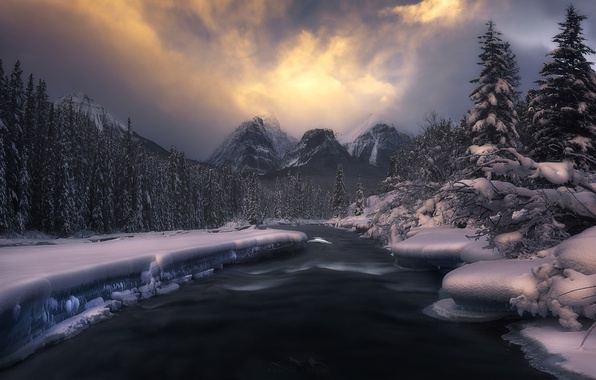 Picture winter, forest, snow, mountains, nature, river