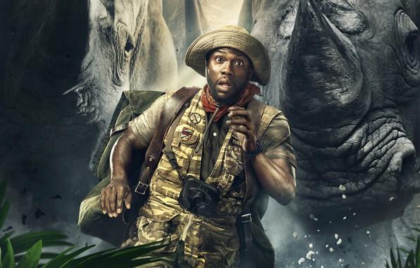 Picture chase, hat, fantasy, binoculars, adventure, backpack, poster, runs, vest, Kevin Hart, rhinos, Kevin HART, Jumanji: …