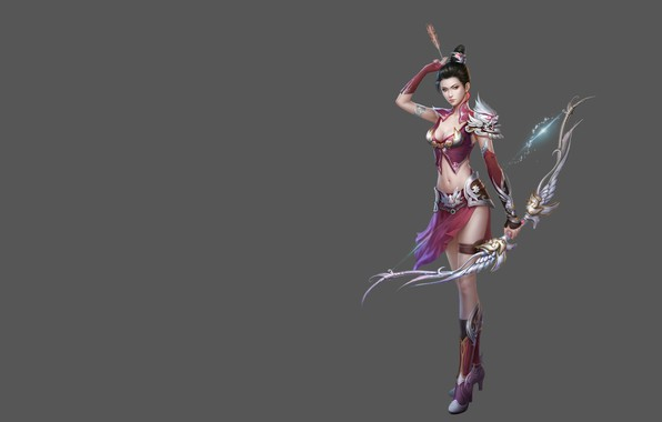 Picture girl, the game, minimalism, bow, Archer, fantasy, art, arrow, costume design