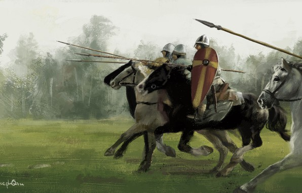 Picture attack, riders, knights, spears, normanns
