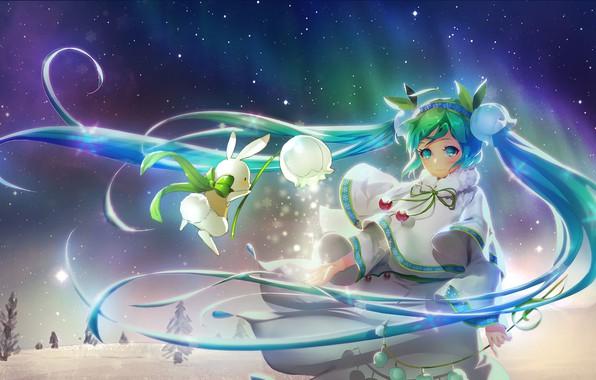 Picture anime, art, Hatsune Miku, Miku, Vocaloid, orry lee, Snow Miku, snow miku 2015