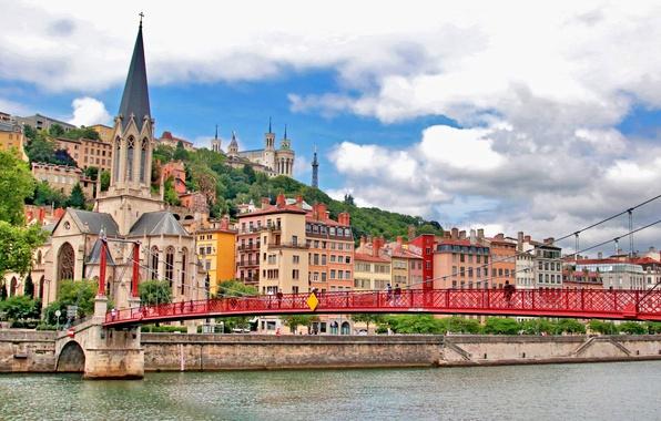 Picture bridge, river, France, building, hill, Church, promenade, France, Lyon, Lyon, The Church Of St. George, …
