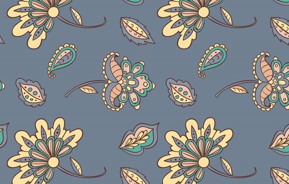 Picture flowers, grey, texture, grey, background, Batik