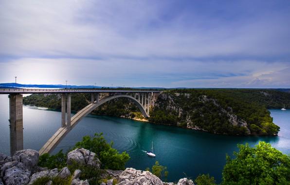Picture bridge, river, yacht, Croatia, Croatia, the river Krka, Krka River