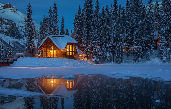 Picture winter, forest, snow, trees, mountains, lights, lake, the evening, Canada, house, Yoho National Park, Emerald …