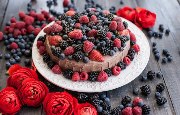Picture flowers, berries, raspberry, the sweetness, blueberries, pie, cake, cream, BlackBerry, Ranunculus