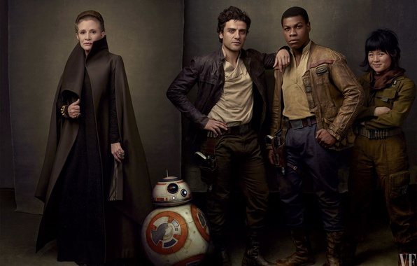 Picture cinema, Star Wars, red, black, stars, movie, film, Finn, Leia, droid, Oscar Isaac, Carrie Fisher, …