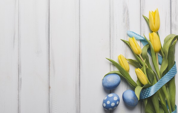 Picture holiday, bouquet, spring, tape, tulips, wood, blue, tulips, decor, Easter, eggs