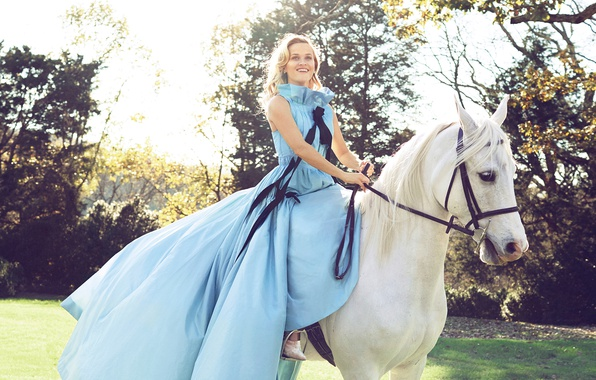 Picture the sun, trees, smile, lawn, horse, garden, dress, hairstyle, blonde, white, rider, photoshoot, nature, Reese …