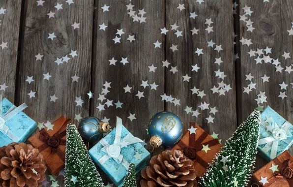 Picture spruce, gifts, stars, bumps