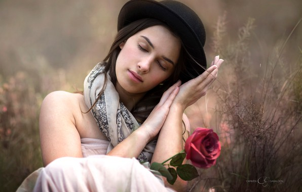 Picture flower, girl, mood, rose, hat, hands, bokeh