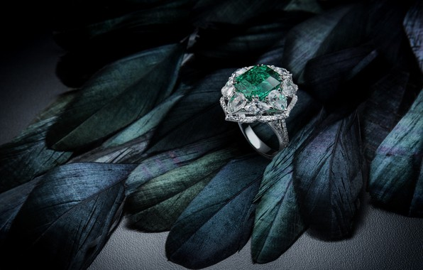 Picture stone, ring, decoration, emerald