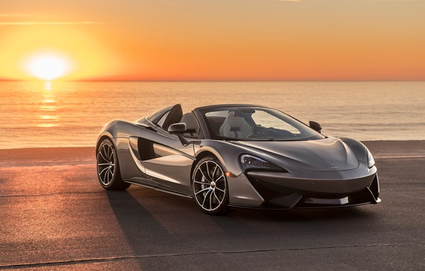 Picture sunset, coast, McLaren, supercar, 2018, Spider, 570S