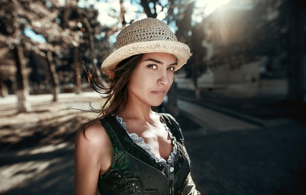Picture look, the sun, trees, background, model, portrait, hat, makeup, hairstyle, brown hair, Anna, bokeh, Olia ...