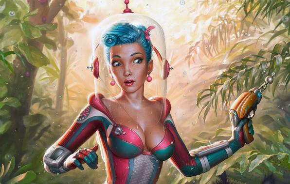 Picture girl, gun, fantasy, cleavage, rain, weapon, jungle, boobs, night, blue eyes, digital art, artwork, plants, …