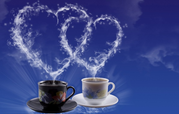 Picture tea, heart, coffee, couples, Cup, heart, Valentine's Day