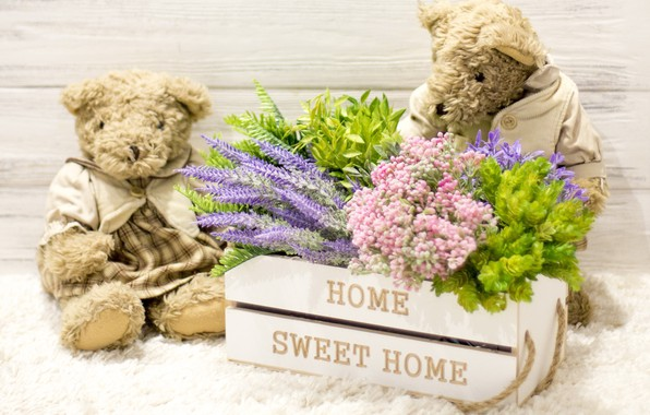Picture love, flowers, toy, bouquet, bear, pair, love, bear, wood, flowers, romantic, couple, sweet, teddy, home