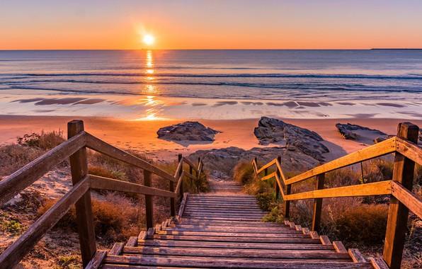 Picture horizon, ladder, sunset, sea shore