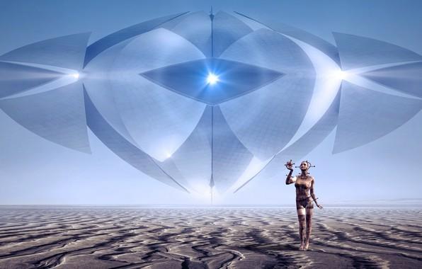Picture girl, light, landscape, space, future, rendering, fiction, desert, people, UFO, horizon, art, cyborg, material, space, ...