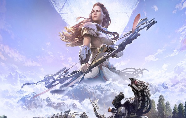 Picture girl, bow, Archer, art, arrow, Action, Sony, poster, RPG, PlayStation 4, Horizon: Zero Dawn, Complete …
