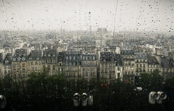 Picture drops, the city, rain, window