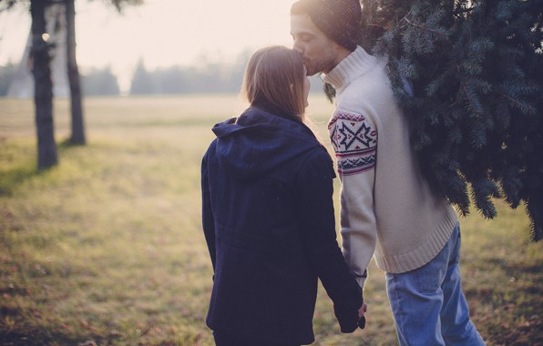 Picture girl, back, feelings, tree, kiss, jacket, pair, guy, lovers