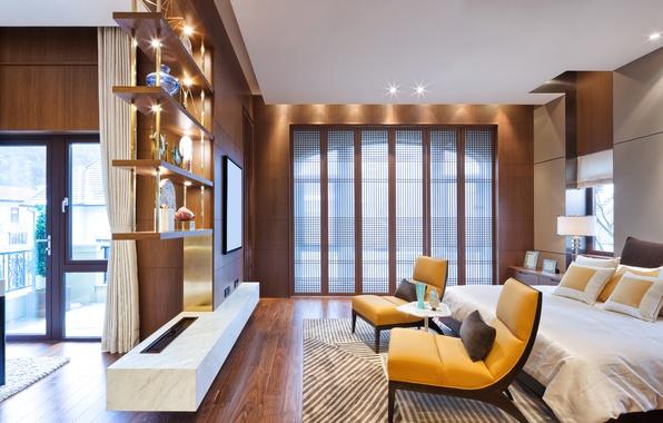Wallpaper room bed chair balcony design bedroom bed interior bedroom images for desktop - Interior balcony in bedroom design ...