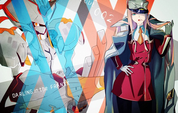 Picture girl, background, being, Darling in the FranXX