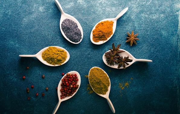 Picture berries, table, pepper, cinnamon, spoon, seasoning