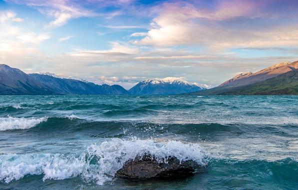 Picture wave, squirt, lake, stone, bursts, New Zealand, New Zealand, Dominic Kamp, Ohau, Ohau