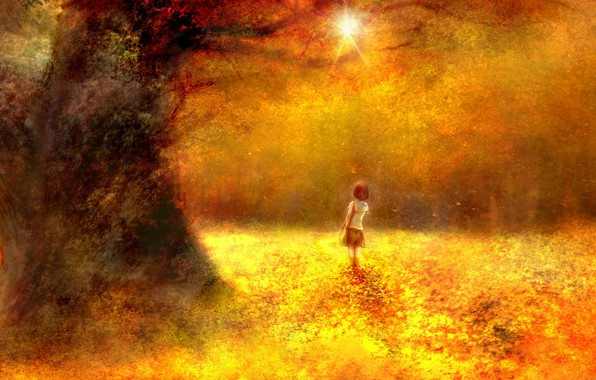 Picture autumn, forest, girl, schoolgirl, by 00