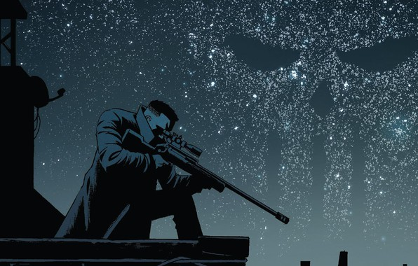 Picture The sky, Night, Stars, Skull, Weapons, Roof, Comic, Cloak, Sky, Stars, Killer, Punisher, Sake, Night, ...