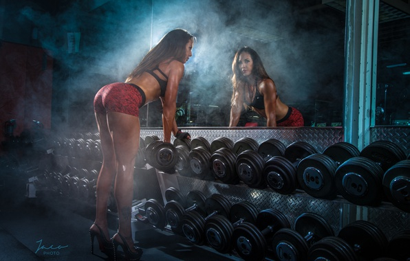 Picture female, mirror, workout, gym, Gym, dumbbells