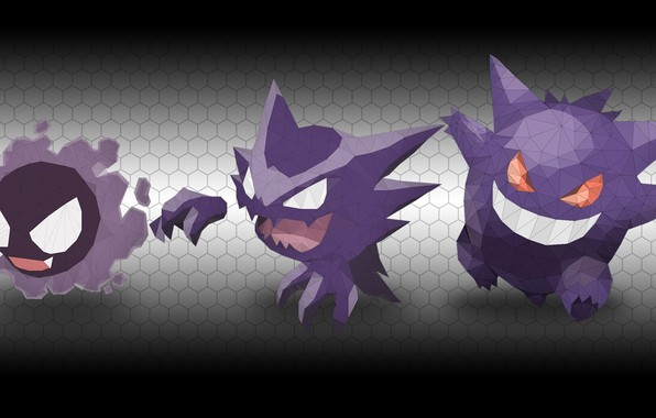 Picture Pokemon, Pokemon, Gengar, Gengar, Gastly, Gastly, Hunter, Hounter, Low poly