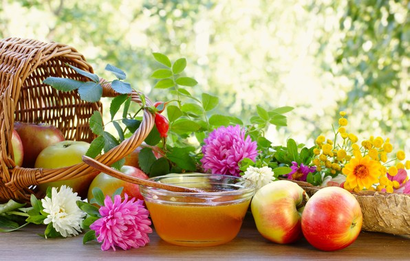 Picture flowers, basket, apples, honey, asters