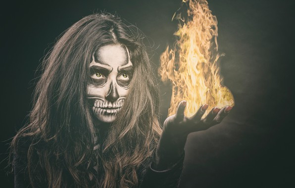 Picture eyes, girl, face, style, fire, flame, hair, skull, hand, makeup, skeleton, manicure