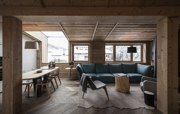 Picture interior, living room, dining room, mountain house, Rosa Alpina Penthouse