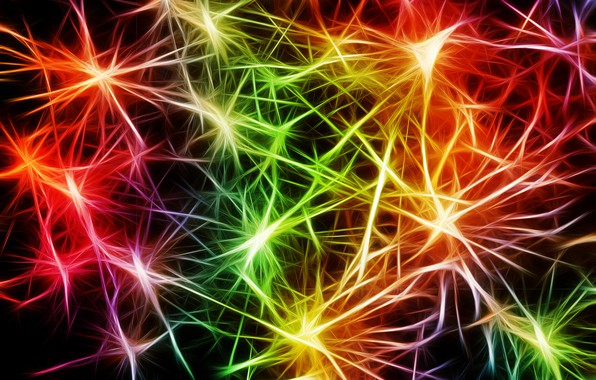 Photo wallpaper Neurons, colorful, pulse, art, abstraction