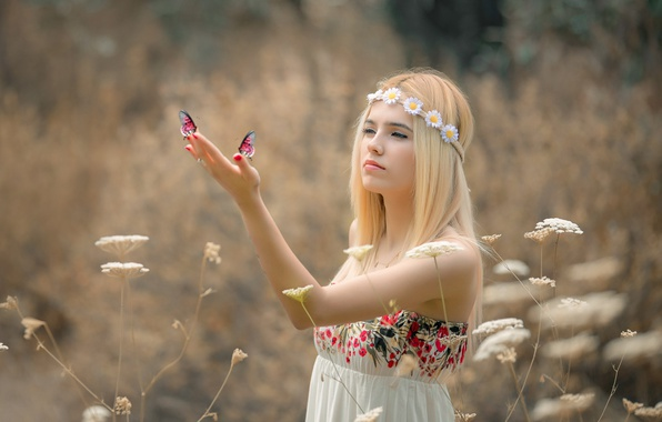 Picture summer, girl, butterfly, flowers, nature, dress, blonde, grass
