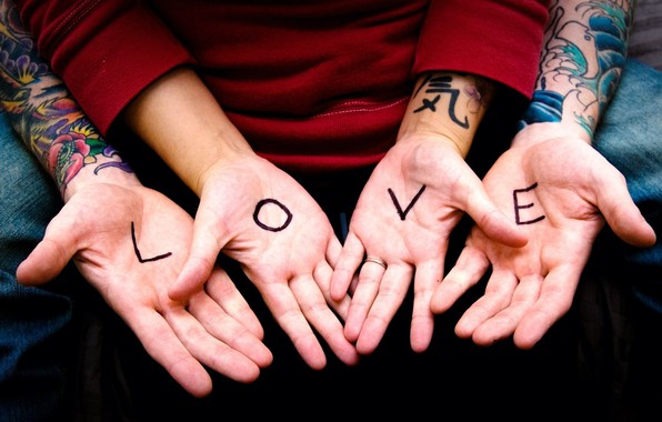Picture love, the inscription, hands, pair, love, relationship, tattoo, palm, couple, hands, inscription, relationships, palms, tatoos