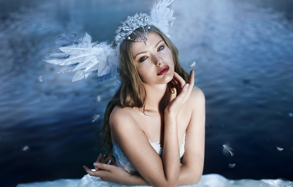Picture water, girl, mood, Bella Kotak, A swan's song, Swan