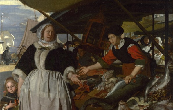 Picture fish, Bazaar, Emanuel de Witte, Dutch painting., Adriana van Heusden, and Daughter, The Fishmarket, ca.1662