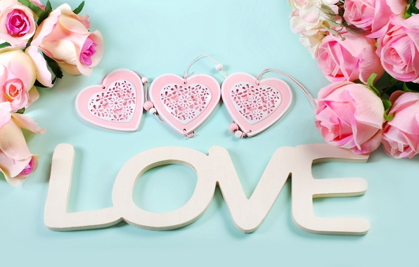Picture roses, hearts, love, heart, pink, flowers, romantic, petals, roses, pink roses, pastel