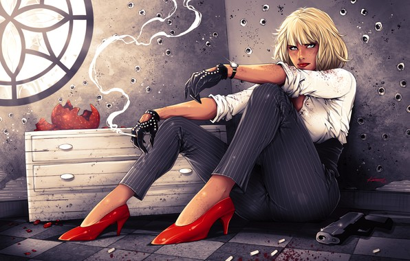 Picture girl, gun, Charlize Theron, blonde, cigarette, shoes, art, pants, Lorraine Broughton, Atomic Blonde