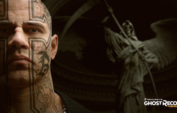 Picture sake, game, Ghost, man, angel, tatoo, face, Tom Clancy's, bald, ripper, Tom Clancy's: Ghost Recon …