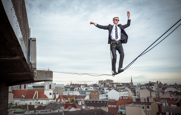 Picture the city, height, male, insurance, tightrope Walker, Vienna