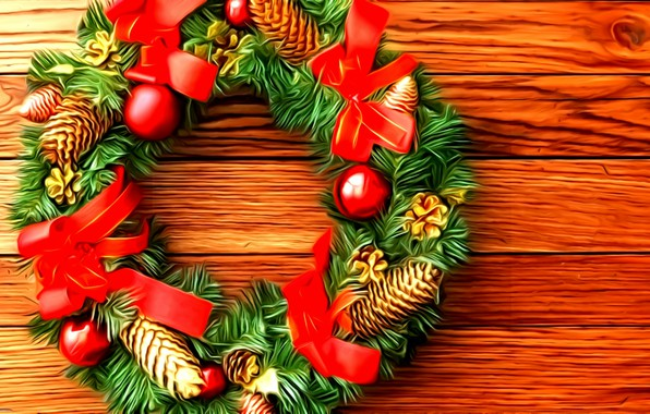 Picture rendering, holiday, New Year, picture, Christmas wreath, spruce branches, Christmas decoration, wooden surface, scarlet ribbons, …