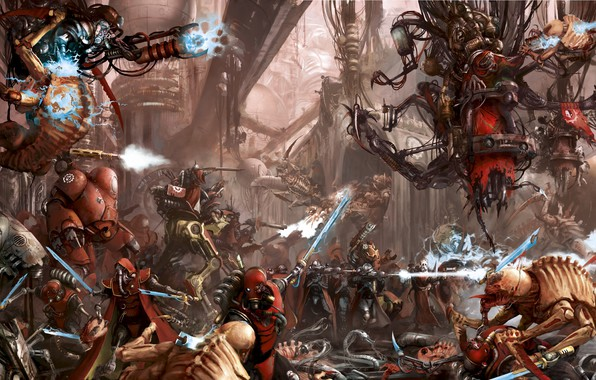Photo wallpaper Warhammer 40 000, tyranids, tech priest, Adeptus Mechanicus