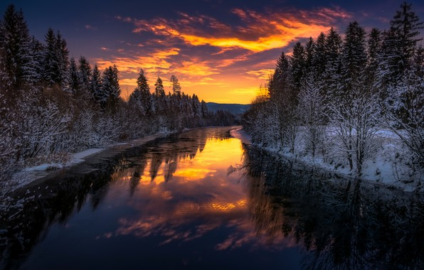 Picture winter, night, river